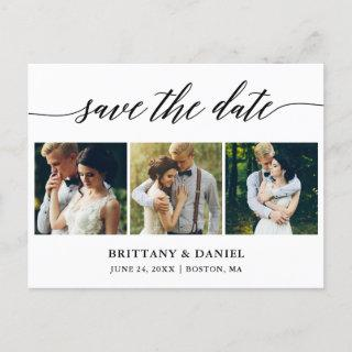 Modern Calligraphy Save The Date 3 Photo Announcement Postcard