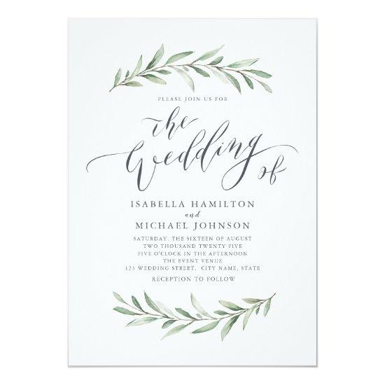 Modern calligraphy simple greenery wedding Invitations