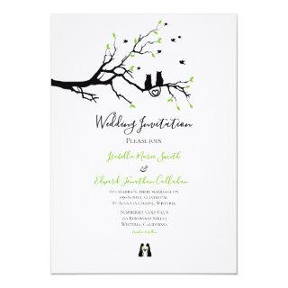 Modern Cats In Love Green & Black Theme Wedding Invitation