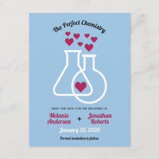 Modern Chemistry Heart Wedding Save The Date Announcement Postcard