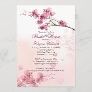 Modern Cherry Blossom Bridal Shower Invitations