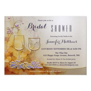 Modern Chic Floral Wine Themed Bridal Shower Invitation