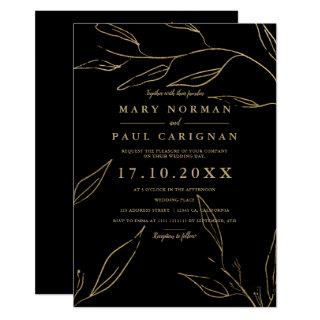Modern chic gold black leaf simple chic wedding invitation