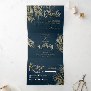 Modern chic gold palm tree navy blue wedding Tri-Fold Invitations