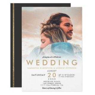 Modern chic gold white ombre simple photo wedding Invitations