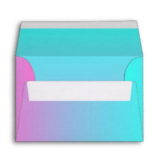 modern chic spring pink turquoise ombre wedding envelope