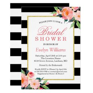 Modern Classic Black Stripes Floral Bridal Shower Invitation