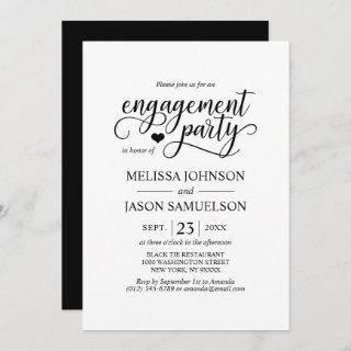 Modern Classy Black White Heart Engagement Party