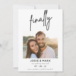 modern classy script finally photo save the date