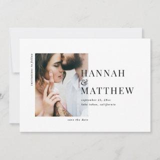 Modern classy typography photo wedding save the date