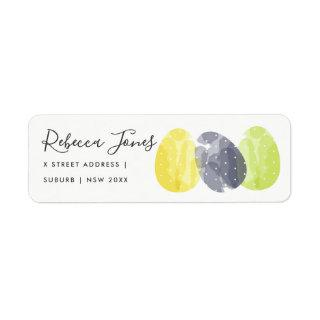 MODERN COLORFUL WATERCOLOR EASTER EGGS ADDRESS LABEL