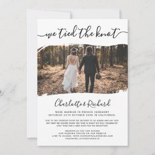 Modern cool wedding elopement tied the knot photo announcement