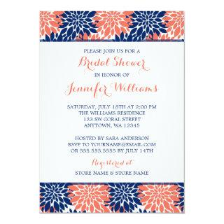 Modern Coral Navy Blue Flower Bridal Shower Invitation