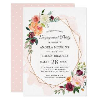 Modern Diamond Frame Blush Floral Engagement Party Invitation