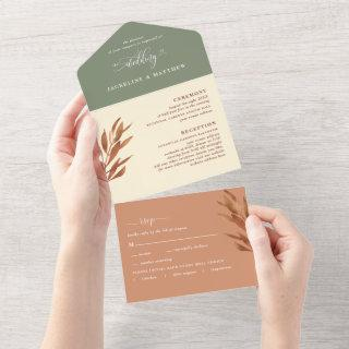 Modern Earth Tone Wedding w/ Perforated RSVP All In One