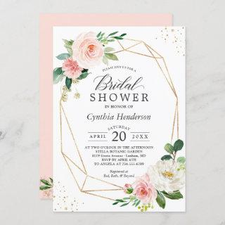 Modern Elegance Blush Pink Floral Bridal Shower Invitation