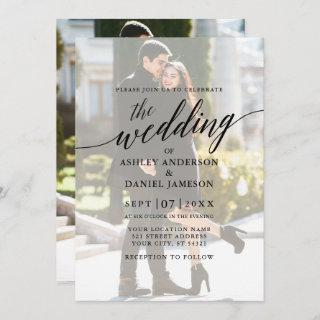 Modern Elegant Calligraphy Photo Overlay Wedding Invitation