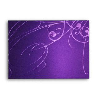 modern elegant chic swirls vintage purple wedding envelope