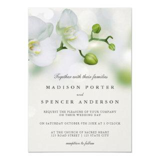 Modern Elegant Floral White Orchid Photo Wedding Invitation