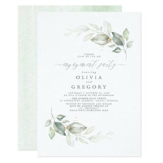 Modern Elegant Greenery Engagement Party Invitations