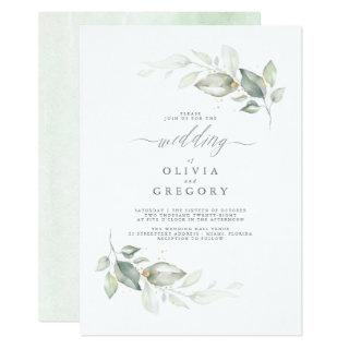 Modern Elegant Greenery Minimalist Wedding Invitation
