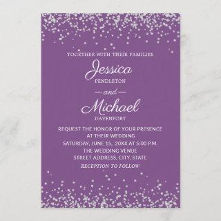 Modern Elegant Purple Silver Glitter Wedding Invitations