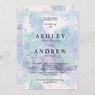 Modern elegant purple watercolor wedding Invitations