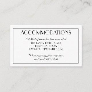 Modern Elegant Wedding Accommodations Photo Enclosure Card