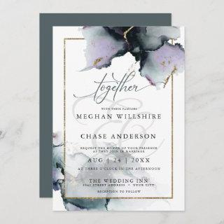 Modern Ethereal Muted Amethyst and Slate Blue Invitations