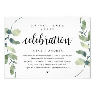 Modern Eucalyptus, Wedding Elopement Celebration Invitation