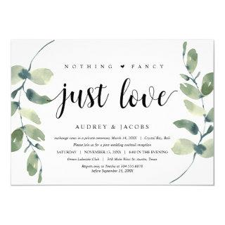 Modern Eucalyptus,  Wedding Elopement Party Invitation