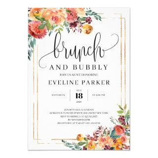 Modern Fall marigold brunch abd bubbuly Invitations