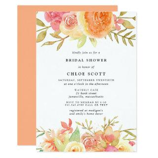 Modern Fall Rose Flowers Bridal Shower Invitations