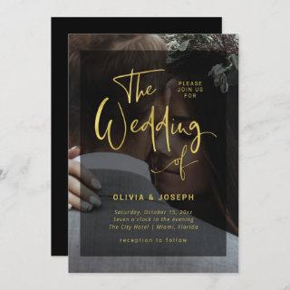 Modern Faux Gold and Black Overlay | Photo Wedding Invitation