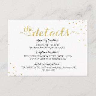 Modern Faux Gold Foil Glamour Information Card