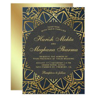 Modern Faux Gold Mandala Indian Wedding Invitation