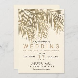 Modern faux gold palm tree elegant ivory wedding Invitations