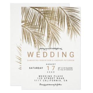 Modern faux gold palm tree elegant wedding Invitations