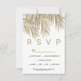 Modern faux gold palm tree RSVP wedding