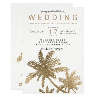 Modern faux gold palm trees elegant wedding Invitations