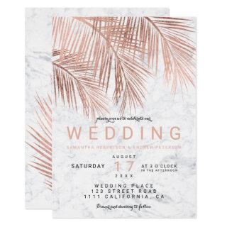 Modern faux rose gold palm tree marble wedding Invitations