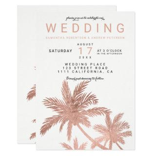 Modern faux rose gold palm trees elegant wedding invitation