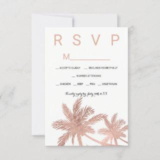 Modern faux rose gold palm trees RSVP wedding