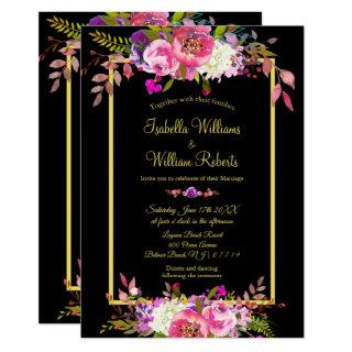 Modern Floral Black Gold Wedding Invitations