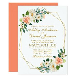 Modern Floral Coral Gold Geometric Wedding Invitation