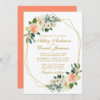 Modern Floral Coral Gold Geometric Wedding Invitations