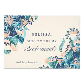 Modern floral coral teal watercolor bridesmaid invitation