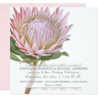 Modern Floral Elegant Simple Pink Protea Flower Invitation