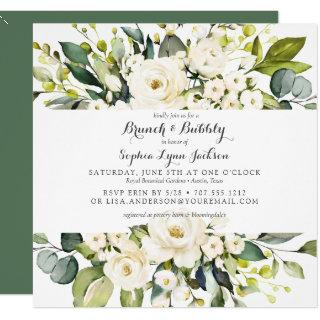 Modern Floral Rose Brunch and Bubbly Bridal Shower Invitations