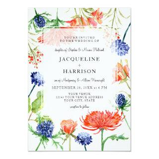 Modern Floral Watercolor Fall Orange Mum Thistle Invitations